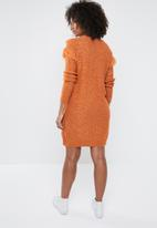 Vero Moda - Fringi long sleeve boatneck dress - rust