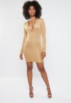 Missguided - Bandage plunge mini dress - camel