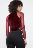 Missguided - Velvet bodysuit lace sleeves - burgundy