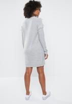 Vero Moda - Fringi long sleeve boatneck dress - grey