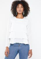 Missguided - Long sleeve frilled top - white