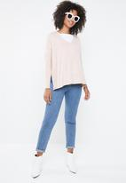 ONLY - Kleo long sleeve v-neck pullover - pink
