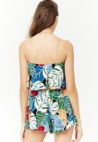 Forever21 - Strapless floral playsuit - cream multi