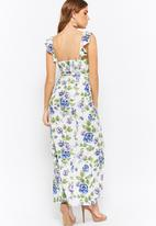 Forever21 - Floral maxi with side slit - white & blue
