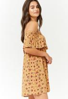 Forever21 - Off shoulder floral ruffle overlay dress - yellow