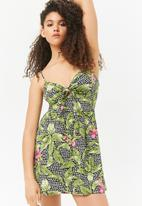 Forever21 - Floral mini babydoll dress - black & green