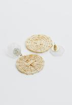Joy Collectables - Woven drop earrings - cream