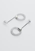 Joy Collectables - Drop hoop earrings - silver