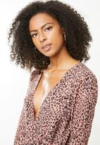 Missguided - Animal print wrap bodysuit - pink