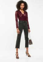 Missguided - Lace-wrap bodysuit - burgundy