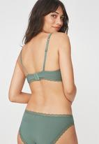 Cotton On - Rib and lace wire-free lounge bra - green