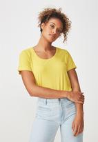 Cotton On - Elise scoop neck rib tee - yellow