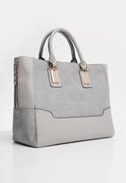 New Look - Suedette panel tote - grey