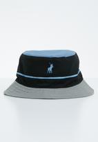 50809ad0f84d58 Nautical monogram bucket hat - black, blue & grey POLO Headwear ...