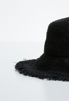 Superbalist - Fringed straw hat - black