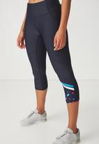 Cotton On - Placement print crop legging - navy