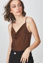 Cotton On - Delta cowl neck cami - brown