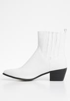 Public Desire - Beetle western ankle boot - white