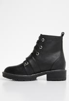 Public Desire - Regeneration silver hardware flat boot - black