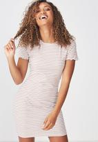 Cotton On - Gracie lettuce edge T-shirt dress - white & brown