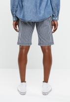 STYLE REPUBLIC - Fine check shorts - navy & white