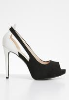 Miss Black - Stiletto peep toe heel - black & white