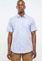STYLE REPUBLIC - Docks striped short sleeve shirt - blue & yellow