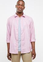 STYLE REPUBLIC - Rhythm striped long sleeve shirt - red & blue