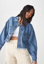 Cotton On - Cropped batwing denim jacket - blue