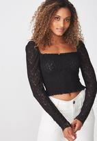 Cotton On - Eden long sleeve lace top - black