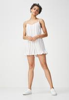 Cotton On - Woven lily strappy frill playsuit - white