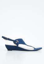STYLE REPUBLIC - Slingback wedge sandal - navy