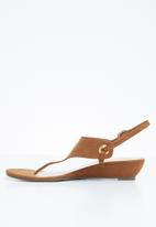 STYLE REPUBLIC - Slingback wedge sandals - brown