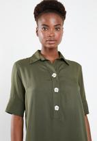 Superbalist - Shift dress with button detail - khaki