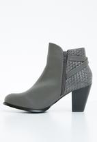 STYLE REPUBLIC - Woven detail boots - grey