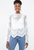 Missguided - High neck embroidered lace blouse - white
