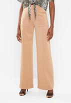 Missguided - Contrast stitch wide leg trousers - neutral