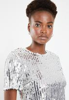 Missguided - Sequin crop top co-ord - silver