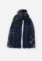 Joy Collectables - Floral print scarf - navy