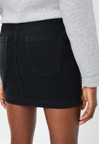 Missguided - Linear embellished denim mini skirt - black