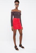 Missguided - Stripe bardot horn button bodysuit - black
