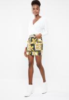 Missguided - Baroque print rigid denim mini skirt -multi