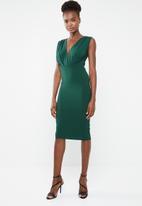 Missguided - Plunge gathered midi dress - green