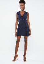 Missguided - Sleeveless frill blazer dress - navy