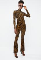 Missguided - Zebra velvet high neck bodysuit - rust