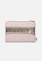 Typo - Double archer pencil case - pink & gold