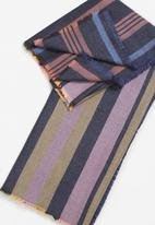 MANGO - Striped scarf - navy