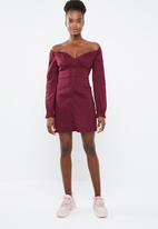 Missguided - Button-down milkmaid dress - burgundy