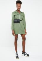 Missguided - Skater dress zip through dress - khaki green