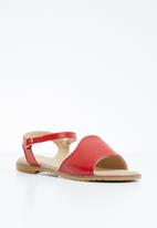 edit - Studded ankle strap sandals - red
